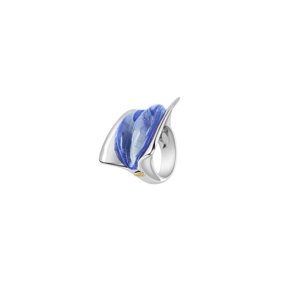 Masini Vanita   Blue Murano Glass Ring USA 8.75  UK Q  IT 18