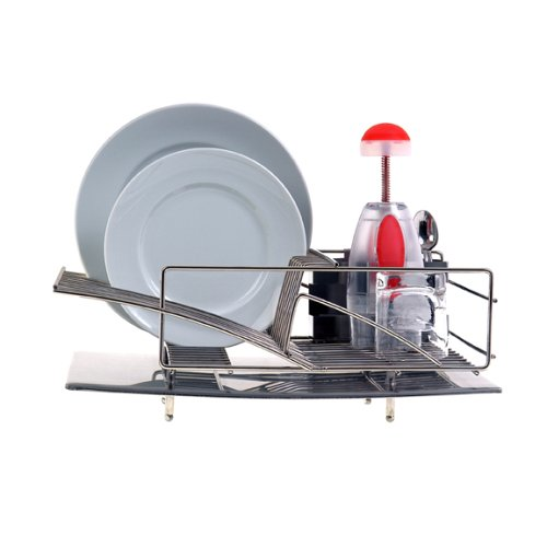 Zojila Rohan Dish Rack, Drain Board and Utensil Holder, Brushed Stainless Steel