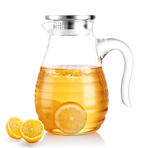 ONEISALL DH17928 1.8L Borosilicate Glass Jug, Heat Resistant Hot/Cold Water...
