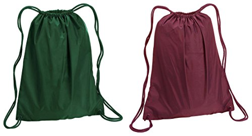 Liberty Bags Large Sport Drawstring Backpack Bags Set_Forest & Maroon_OS
