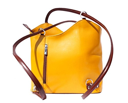Florence Leather 207 - Bolso mochila para mujer Brown & Dark Brown Yellow & Brown
