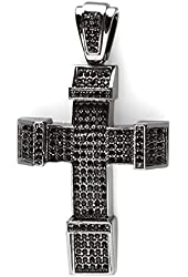 Black Plated Crystal Hip Hip Blackout Micro Pave Mens Religious Cross Pendant (3.5 inch x 2 inch)