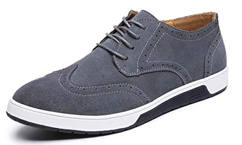VanciLin Men's Casual Suede Leather Dress Shoes Lace-Up Brogue Oxford Shoes(V3366Grey44)