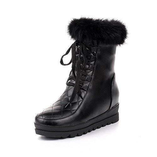 AgooLar Damen Niedrig-Spitze Rein Reißverschluss Stiefel mit Beschlagene Strass, Braun, 33