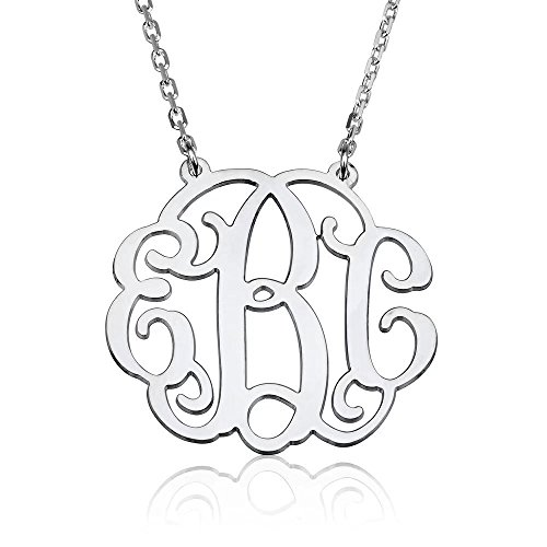 Froshine Monogram Necklace Sterling Silver Personalized Name Necklace Monogram Big Initial Necklace Custom Made with Any (Custom Made Fashion)