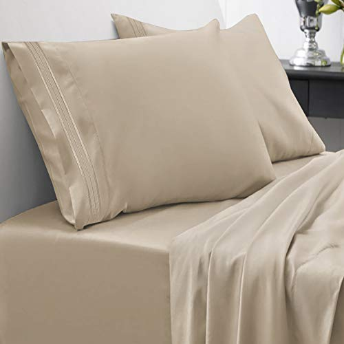 1800 Thread Count Sheet Set - Soft Egyptian Quality Brushed Microfiber Hypoallergenic Sheets - Luxury Bedding Set with Flat Sheet, Fitted Sheet, 2 Pillow Cases, King, Taupe from Sweet Home Collection