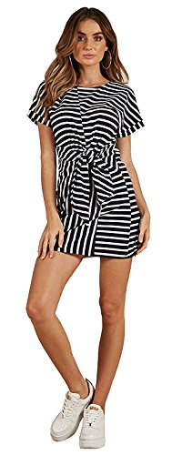 MIDOSOO Womens Summer Casual Crew Neck Short Sleeve Solid Belted Striped Tunic Midi Dress Black&White S (Clothing Black White Womens)