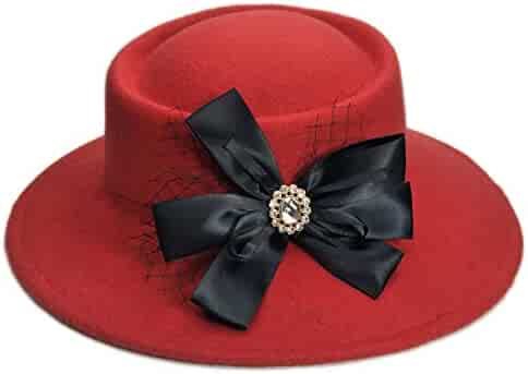 a45d5227a2b DOSOMI Fashion Women Wool Felt Warm Wide Brim Fedora Hats Porkpie Pork Pie  Bowler Hat (