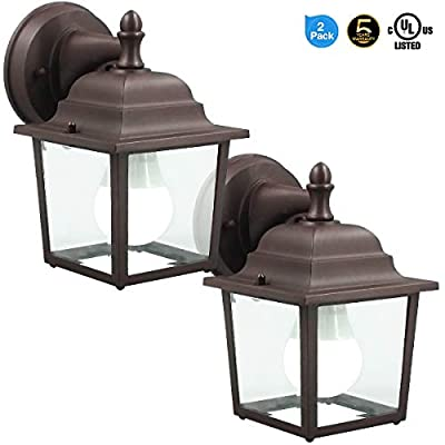 LED Wall Lantern, Wall Sconce 9.5W Replace 60-80W Traditional Lighting Fixtures, 810 Lumen, Water-Proof