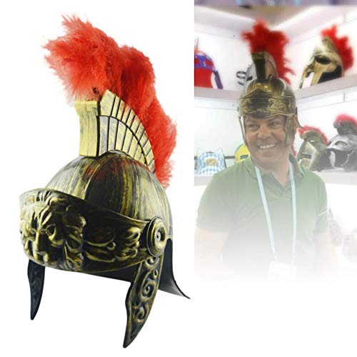 Dreamalv Plastic Samurai Helmet, Spartan Hat Medieval Ancient Roman Vintage Helmet Feather Lion Cap
