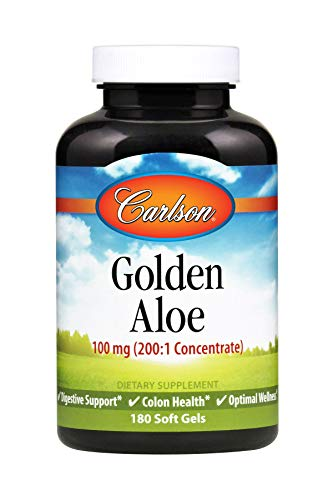 Carlson – Golden Aloe, 100 mg (200:1 Concentrate), Digestive Support & Colon Health, Optimal Wellness, 180 Softgels