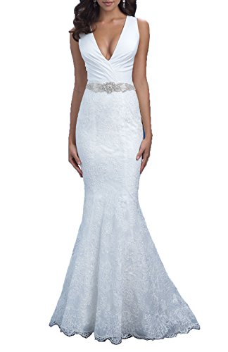 Women's Deep V-Neck Mermaid Lace Wedding Dress for Bride Court Train Bridal Gown Size 10 Ivory