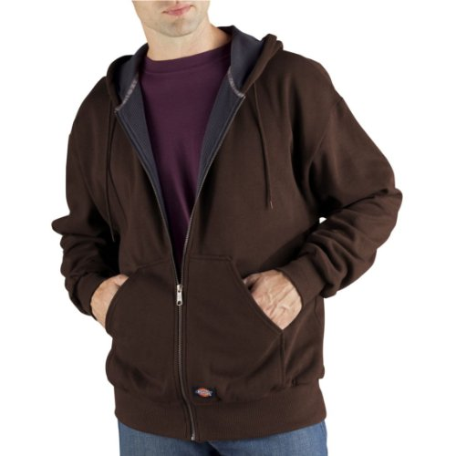 Dickies Men's Thermal Lined Fleece Jacket, Dark Brown, Large