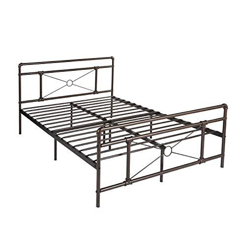 Bronze Queen Size Bed - GreenForest Metal Bed Frame Bronze Queen Size Platform Beds Base Mattress Foundation Headboard Footboard, No Box Spring Needed