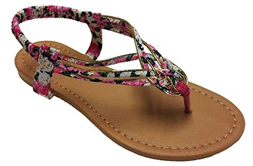 Cmfncy Elegante Damesmode Zwarte Gladiator String Platte Schattige Sandalen Met Bloemenprint En Goudkleurige Accenten Roze