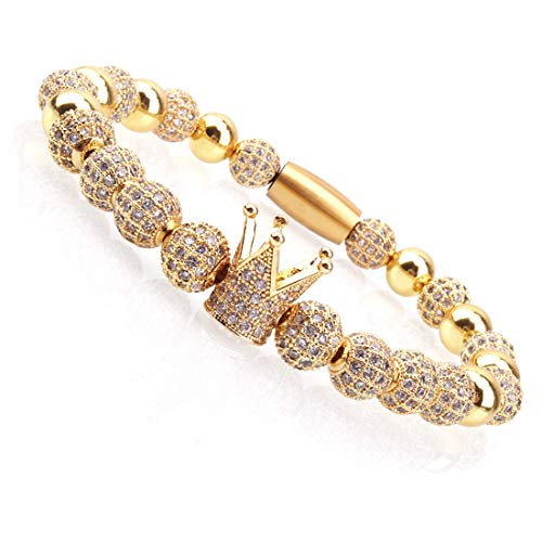 Half Bracelet Bead - Massive Beads Luxury CZ Imperial Crown Braided Copper Bracelets with 8mm Micro Pave Cubic Zirconia Beads Pulseira Bangle Charm Jewelry