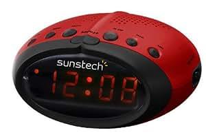 "Sunstech FRA 15 - Radio Despertador, AM/FM, función ""sleep"", pantalla LCD 6,5 cms., color rojo y negro"