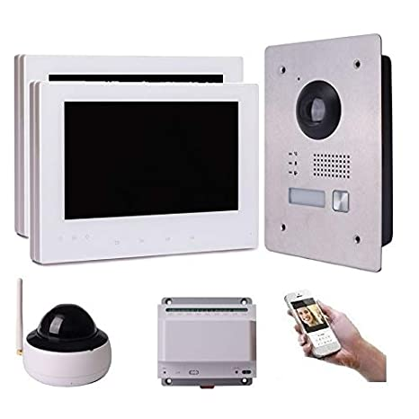 2 Draht IP Video T/ürsprechanlage Gegensprechanlage 7 Monitor Wei/ß Kamera 170/° HD Edelstahl