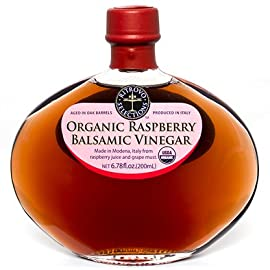 Organic Raspberry Balsamic Vinegar 2 Organic Raspberry Balsamic Vinegar in Gorgeous Glass Decantur A luxurious, rich blend of organic raspberry juice, just the right amount of cooked white grape must for body, and wine vinegar for a tart counterpoint. USDA Organic & Non GMO