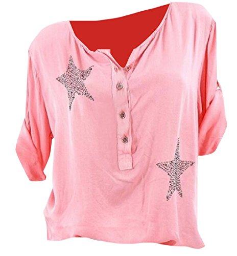 RSunshine - Blusa de Manga Larga para Mujer, Cuello Redondo, Botón de Estrella, Silvestre, Rojo...