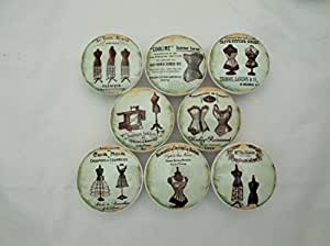 Set of 8 French Dressform Cabinet Knobs
