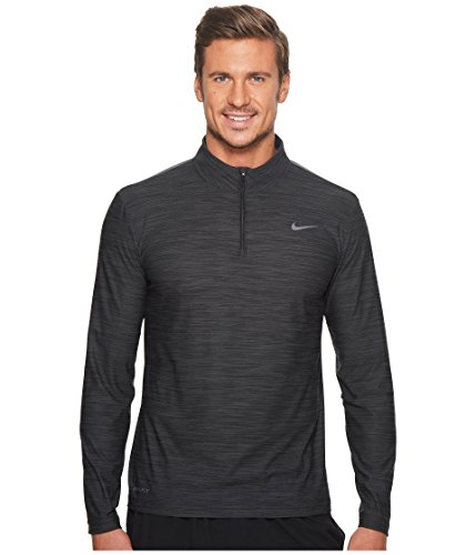 Nike Men's Breathe Dry Quarter Zip Long Sleeve Shirt, Black/Anthracite-Dark Grey, Medium (Nike Mens Therma Long Sleeve Quarter Zip Shirt)