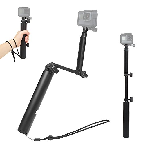 Holes 1/4' 3 (D&F Foldable Monopod Selfie Stick Pole with 1/4'' Screws Hole Hand Grip for GoPro Hero 6/5/4/3, SJCAM,Yi and Other Sport Cam)
