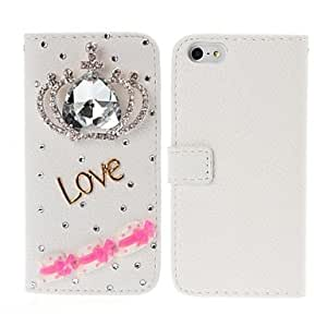 DIY Imperial Crown and Love Pattern with Rhinestone Full Body Leather Case with Stand for iPhone 5/5S