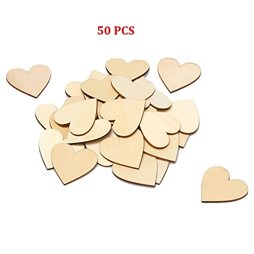 RERIVER 2-Inch Unfinished Wooden Heart Blank Wood Cutout Heart Slices Discs DIY Crafts(50pcs) (Wooden Heart Cut Out)