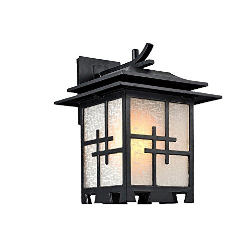 Modeen Chinese Style Outdoor Waterproof Aluminum Glass Wall Lamp Japanese-Style Simple Antique Vintage Villa Door Hall Garden Patio LED Lights E27 Decoration Lantern Wall Light (Glass Japanese Vintage)