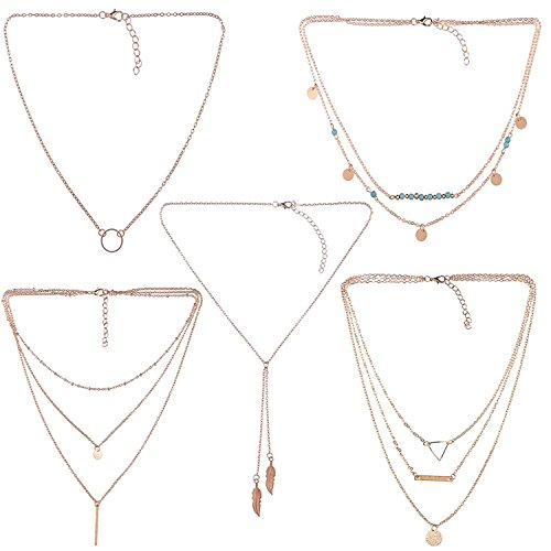 Double Layered Necklace (Mother's Day Gift- 5 PCS Long Lariat Y Chain Necklace Set Simple Bohemia Multilayer Pendant for Women)