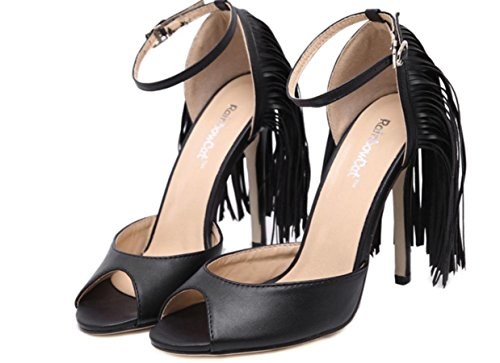 Belle Fashion Casual inizio estate donne YCMDM è con tacchi alti pattini di svago Primavera Estate Autunno Scarpe , black , 40