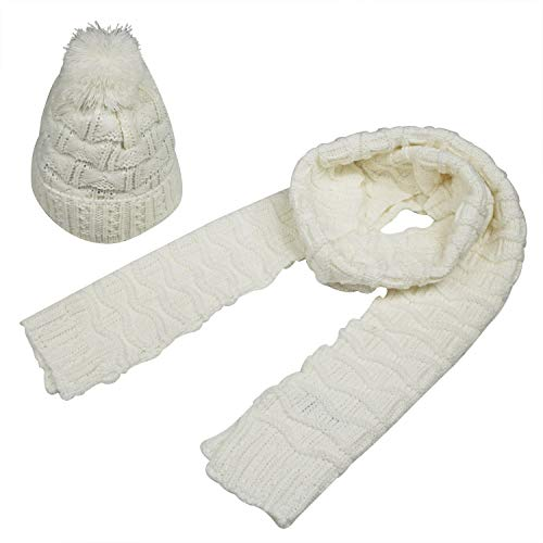Bienvenu Women Fashion Winter Warm Knitted Scarf and Hat Set Skullcaps,White (White Scarf Wool)