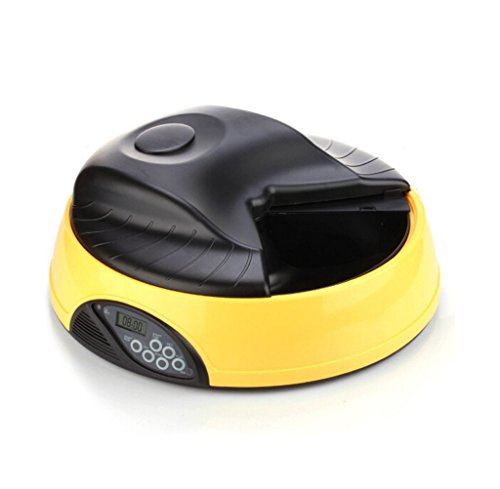 Beika 6-Meal Portion-Control Programmable Automatic Pet Dog Cat Food Dispenser Feeder with LCD Display Screen Yellow