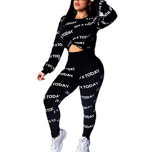 Onefa Women 2Pcs Letter Tracksuit Long Pants Sport Lounge Wear Suit Sets Tracksuit