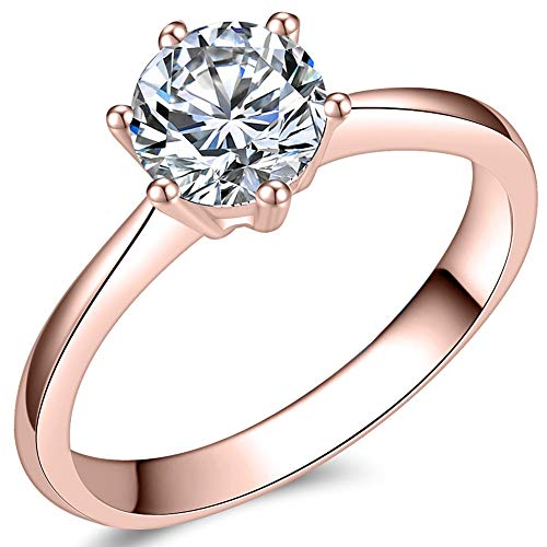 (Jude Jewelers 1.0 Carat Classical Stainless Steel Solitaire Engagement Ring (Rose Gold, 3.5))