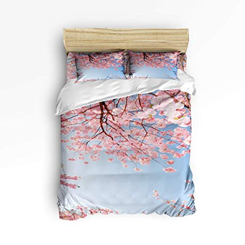 CHASOEA Duvet Cover Set Queen Size Japanese Style,Pink Cherry Blossoms Floral Duvet Cover and Pillow Shams Bed Set