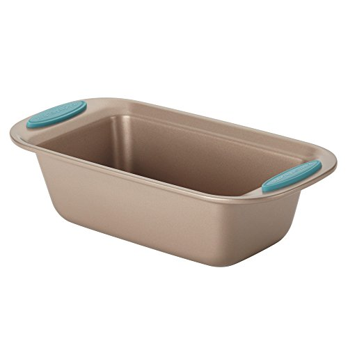 "Rachael Ray 46680 9"" x 5"" Agave Blue Handle Grips Cucina Nonstick Bakeware Bread Meat Loaf Pan, Medium, Latte Brown"