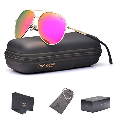 (LUENX Aviator Sunglasses for Women Polarized Mirrored Rose Red Lens Gold Metal Frame Large 60mm)