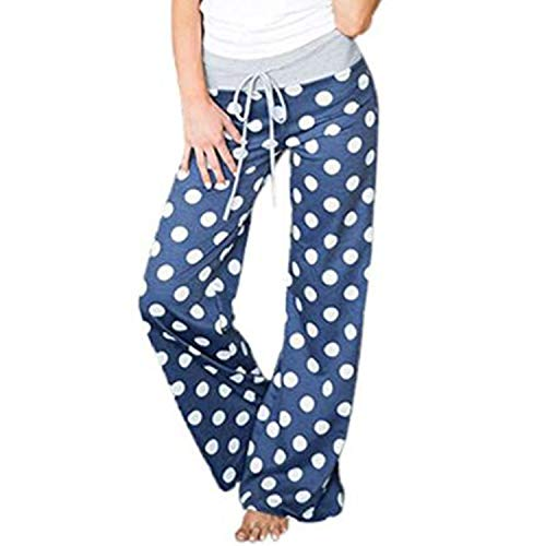 (FITTOO Women Polka dot Print Lounge Pants Wide Legs Comfy Palazzo Pajama Pants Drawstring Blue S )