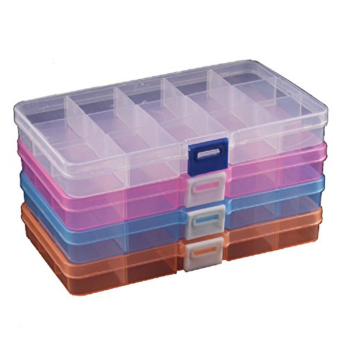 Duofire? 4 Packs(4 Colors) Plastic Storage Box(15 Compartments) Jewelry Earring Tool Containers