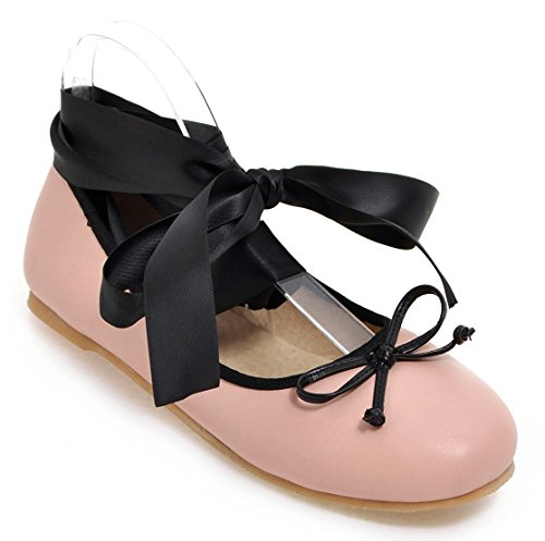 Sfnld Womens Trendy Round Toe Low Cut Ribbons Bow Knot Flat Shoes Pink