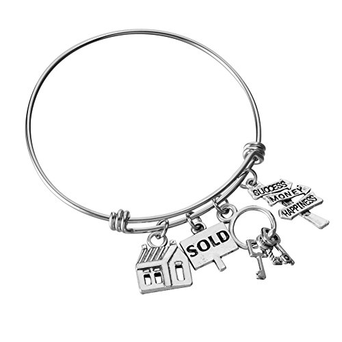 Miss Pink Real Estate Agent Charm Bangle Stainless Steel Expandable Wire Bracelets Realtor Jewelry Gifts (Sold)