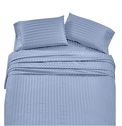 Angel Bedding Queen Size Sleeper Sofa Sheet Set (62 x 74 + 6 Deep) - Stripe Blue 1800 Series Brushed Microfiber Bed Sheets for Sleeper Sofa, Hide A Bed