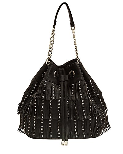 Gio Cellini BORSA DONNA SECCHIELLO FRANGE F323 unica nero  Amazon.it   Scarpe e borse 269b86e148f