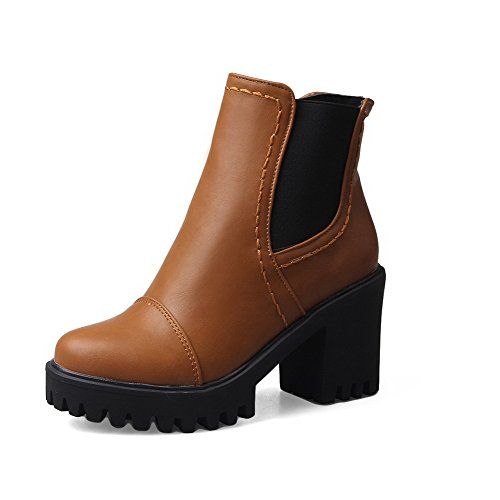 High Yellow Ankle Round Soft Women's high Toe Boots Heels Closed AmoonyFashion Material f1qUI