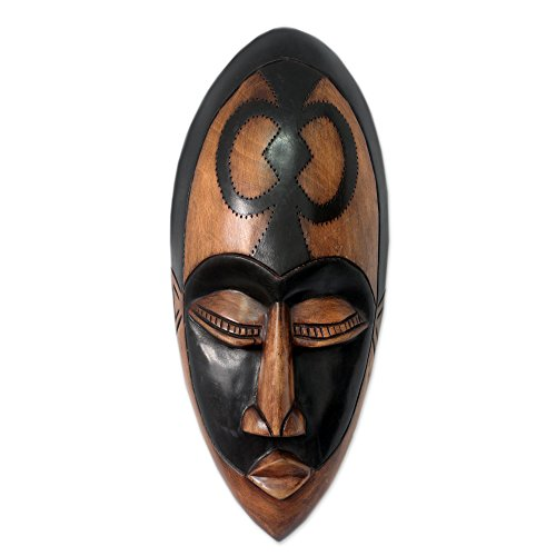 NOVICA Decorative Ghanaian Large Wood Mask, Brown and Black 'Beauty And Faith'