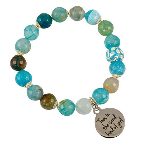 Cyan Blue Green Fire Agate With Silver Plated Czech Bead And  Toes In The Sand Kind Of Girl  Charm   Stretch Bracelet
