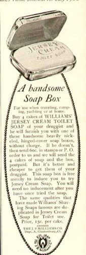Nickel-Plated SOAP Box Offer in 1908 Jersey Cream Toilet SOAP Advertisement Original Paper Ephemera Authentic Vintage Print Magazine Ad/Article