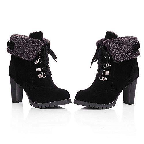 à pour bottes épais hauts à lacets chaussures talons sportive chaussures femme loisirs à talons Zhrui pour à lacets femmes noir hauts qAIA7w